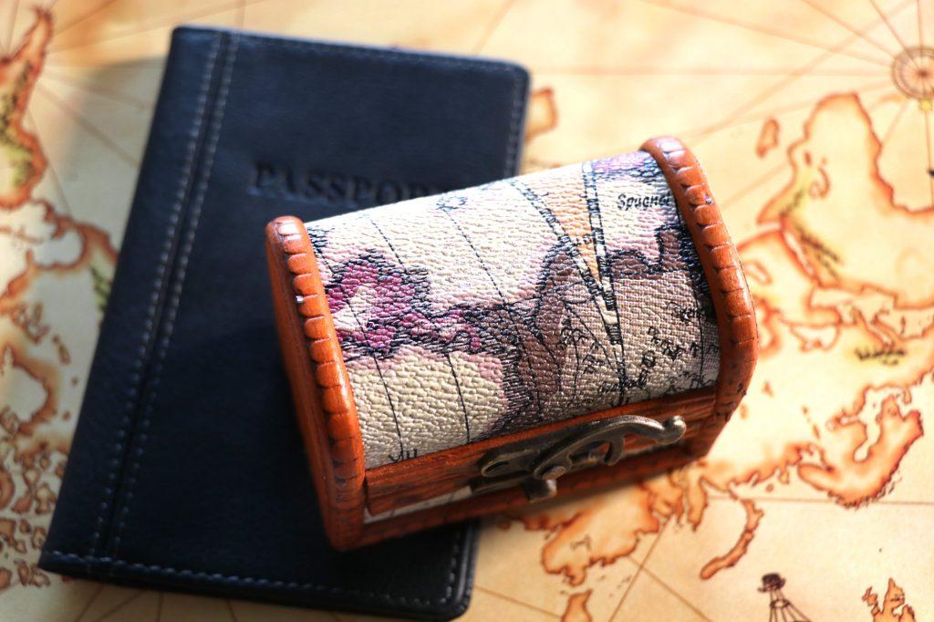 world map treasure chest