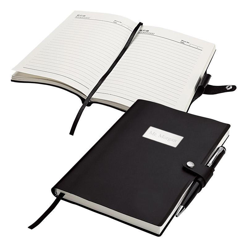Black Executive Snap Closure Journal & Office Pen