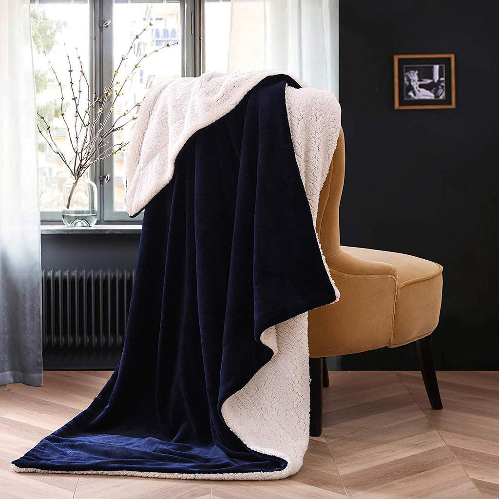 Personalized Navy Micro Plush Sherpa Throw Blanket with Inner Faux Lambswool