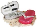 Chic Rhinestone Manicure Beach Sandal Set