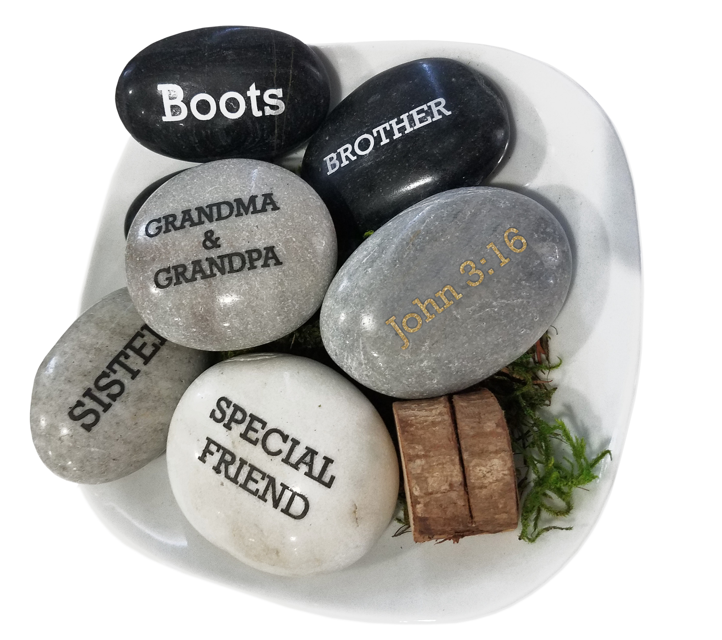 'You Rock!' Personalized Natural Garden Stone Paper Weight