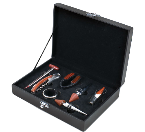 7 Piece Wine Set in Personalized Engraved Leather Box