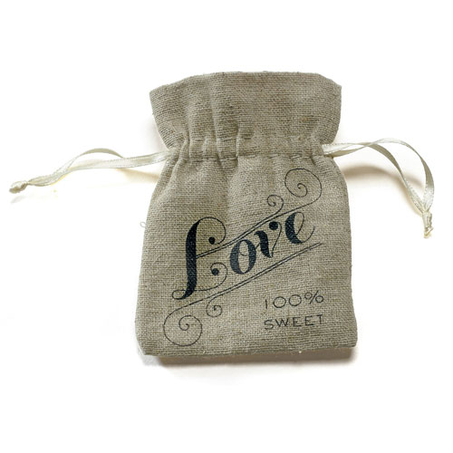 Vintage Jute Drawstring Candy of Love Favor Bag