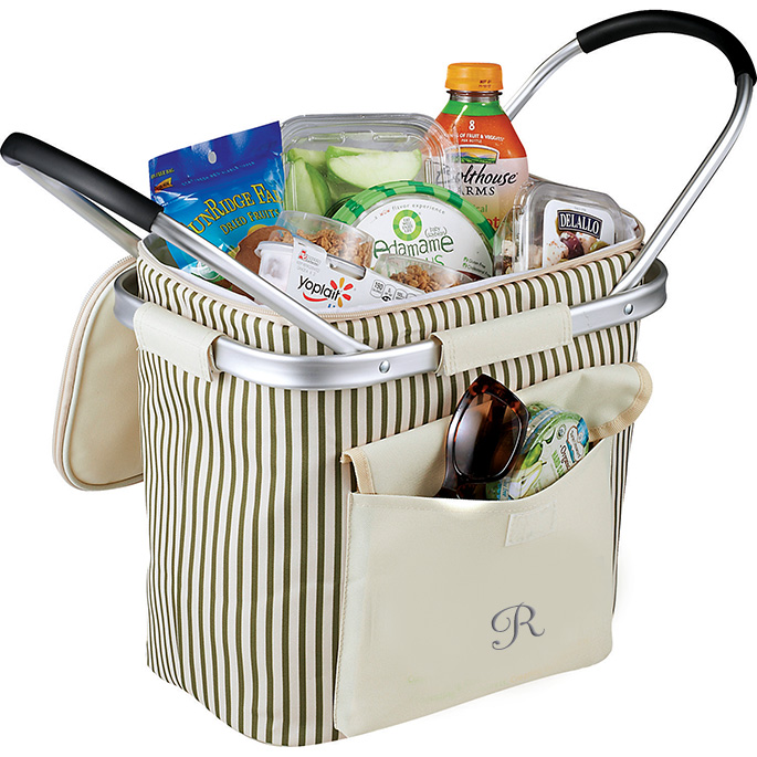 Collapsible Striped Picnic Cooler with Double Aluminum Handles