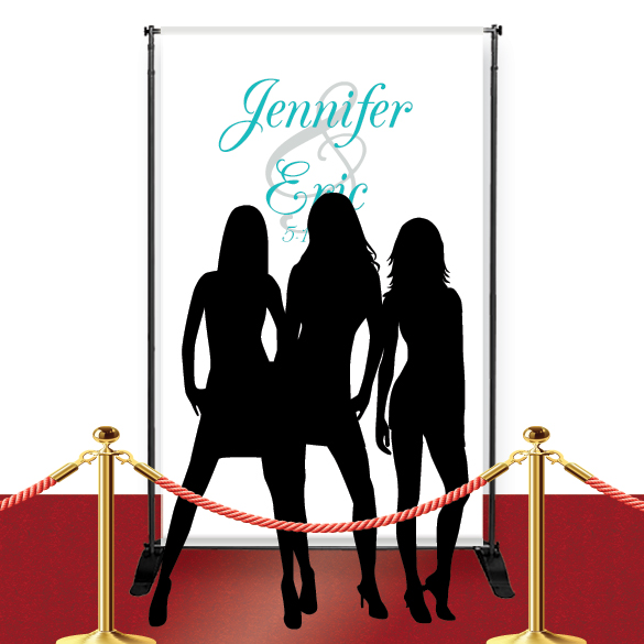 Red Carpet Text Style Wedding Banner