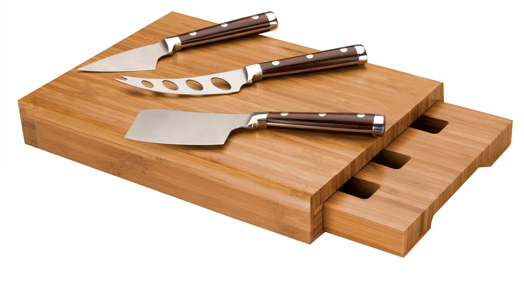 Bamboo Cheese Cutting Board Stainless Steel Cleaver Set