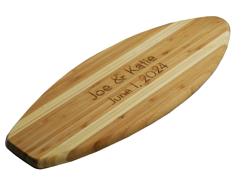 Personalized Eco-Friendly Surfboard Bamboo Cutting Board
