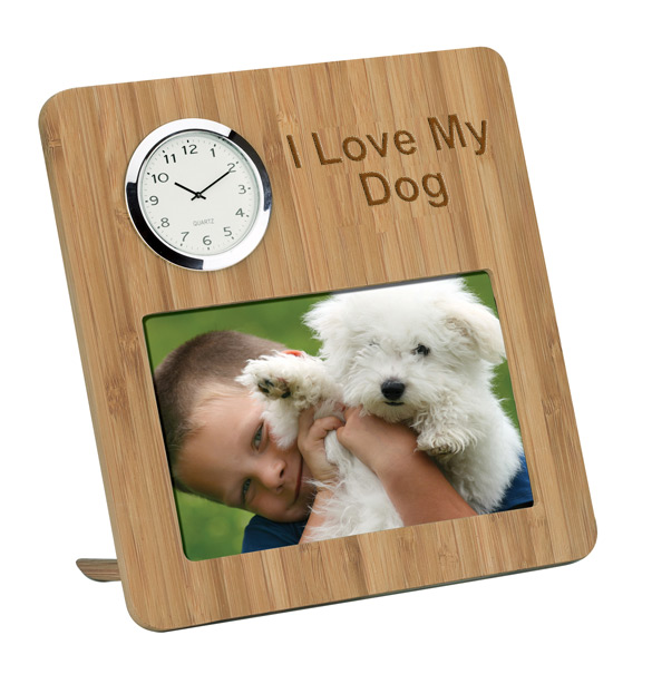 """4"""" x 6"""" Bamboo Photo Frame and Clock"""