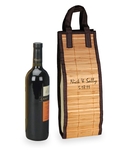 Personalized Bamboo Wine Tote Bag Carrier