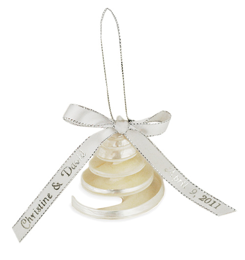 Ribbon Beach Seashell Bell Ornament Favor