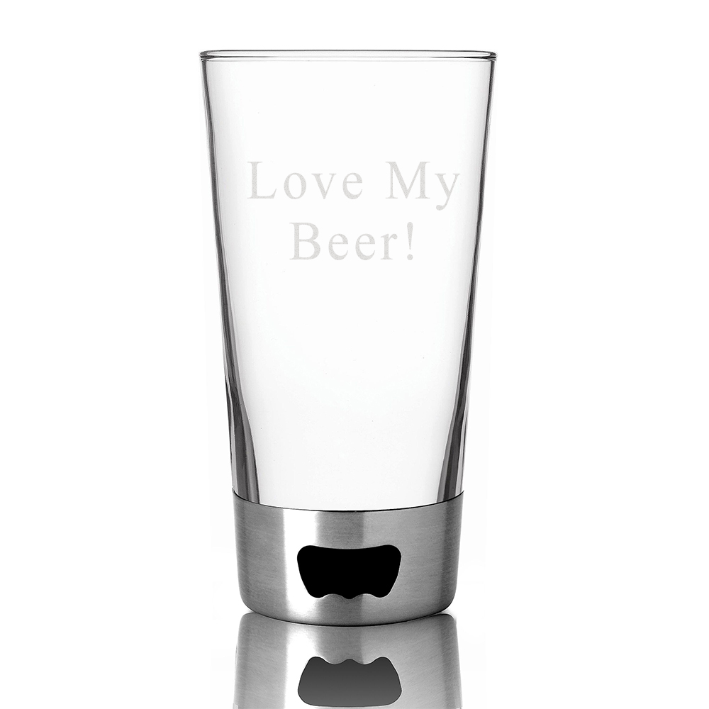 Personalized Stainless Steel Pint Beer Glass & Bottle Opener