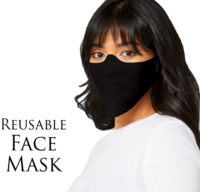 Black Reusable Face Mask Made In USA! Washable Light Thin Cut Breathable Fleece Fabric Cover*