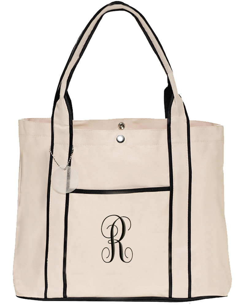 Ivory & Black Stripe Fashion Shopping Tote Bag with Front Pocket