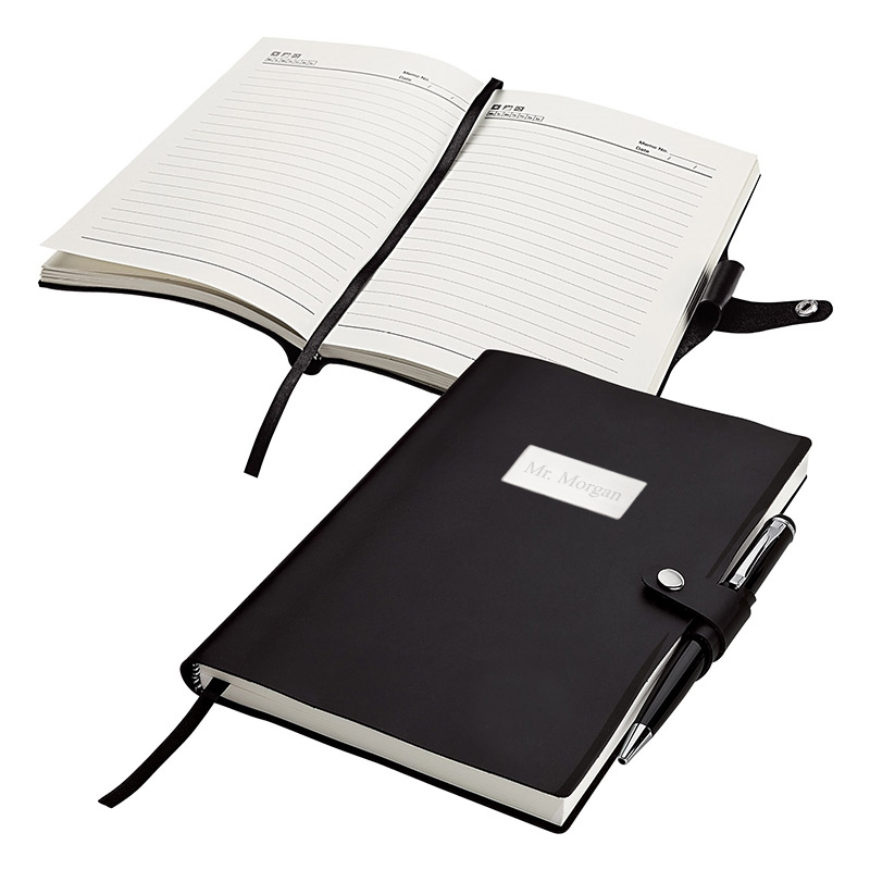 Black Executive Snap Closure Journal & Office Pen