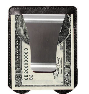 Black Leather Smart Money Clip and Credit Card Holder