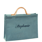 Turquoise Blue Jute Tote Bag