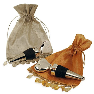 Engraved Heart Wine Stopper in Organza Bead Bag