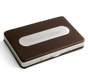 Brown Leather Business Card Case HansonEllis