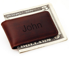 Personalized Brown Leather Magnetic Money Clip*