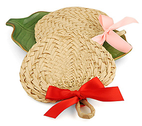 Mini Heart Palm Leaf Buri Fan Favor