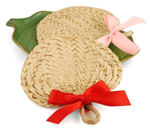 Mini Heart Palm Leaf Buri Fan Favor