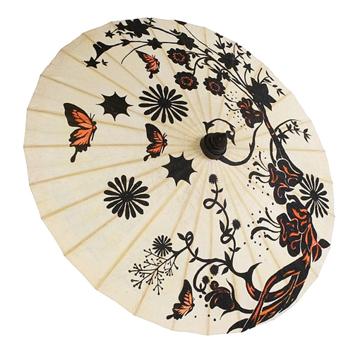 Hand Painted Butterfly Garden Paper Parasol