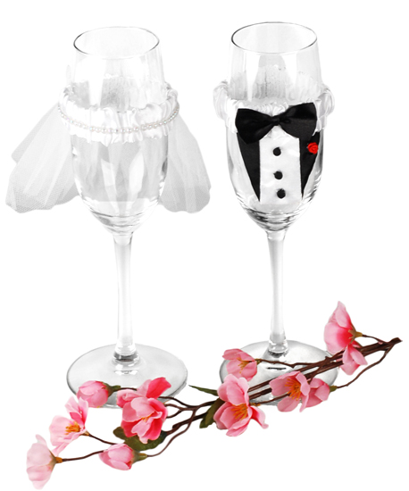 Champagne Wedding Bride and Groom Flute Glass Decorations