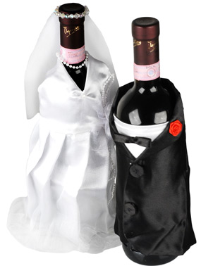 Champagne Wedding Bride and Groom Wine Bottle Decorations