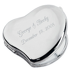 Silver Princess Heart Compact Mirror*