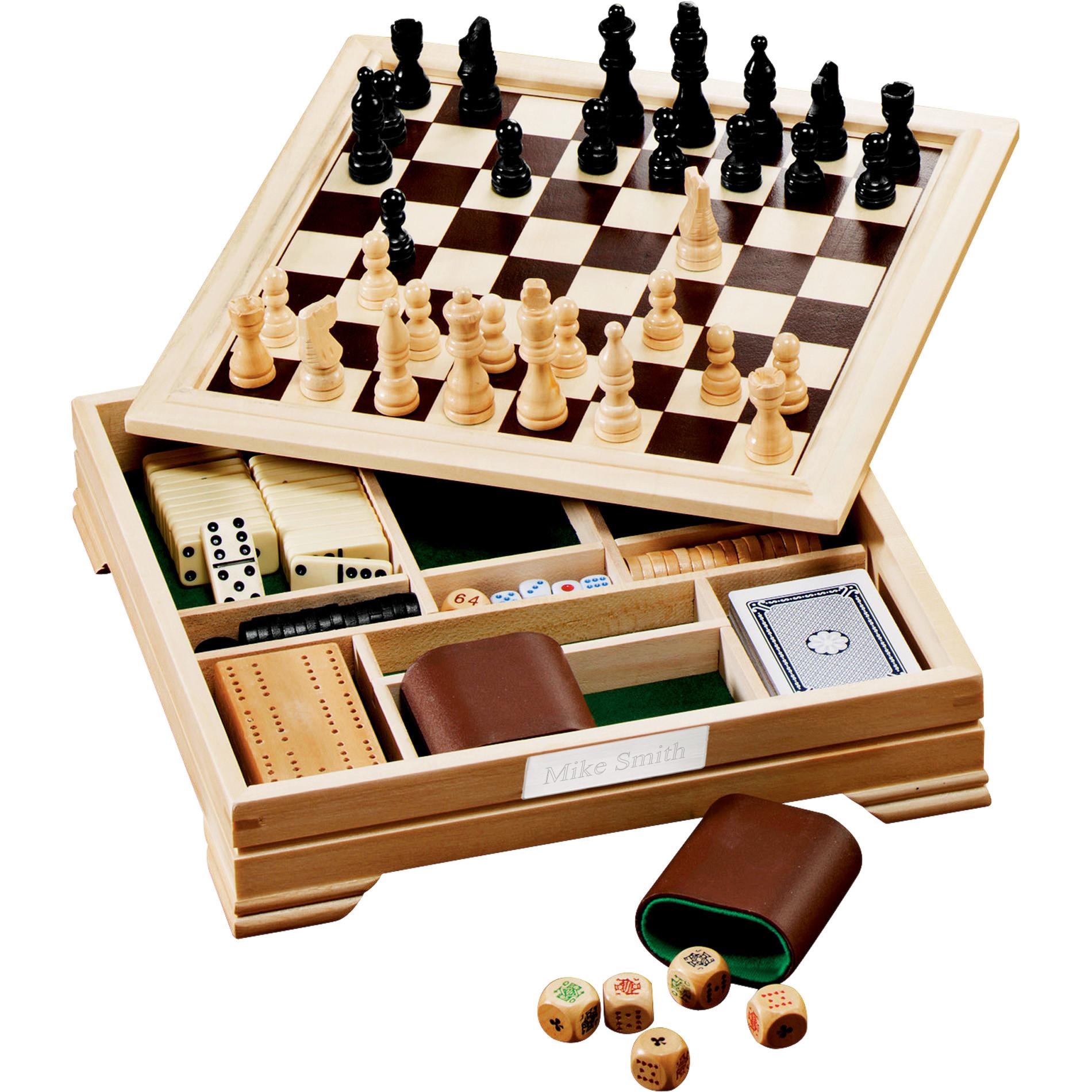 7-in-1 Wood Desktop Champion Game Board Set