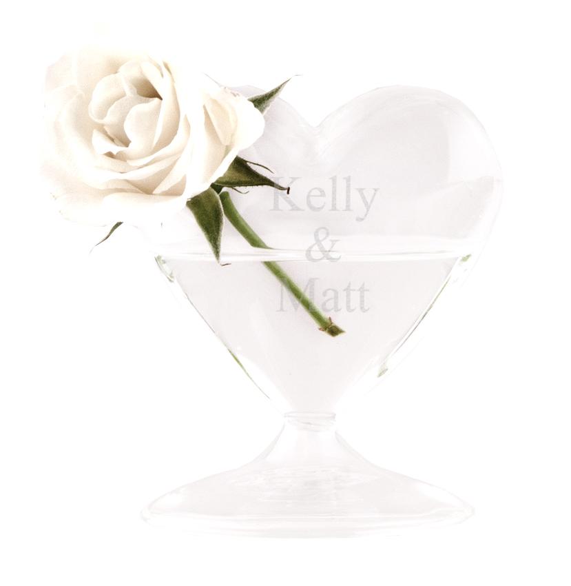 Clear Blown Personalized Wedding Heart Glass Vase Hansonellis
