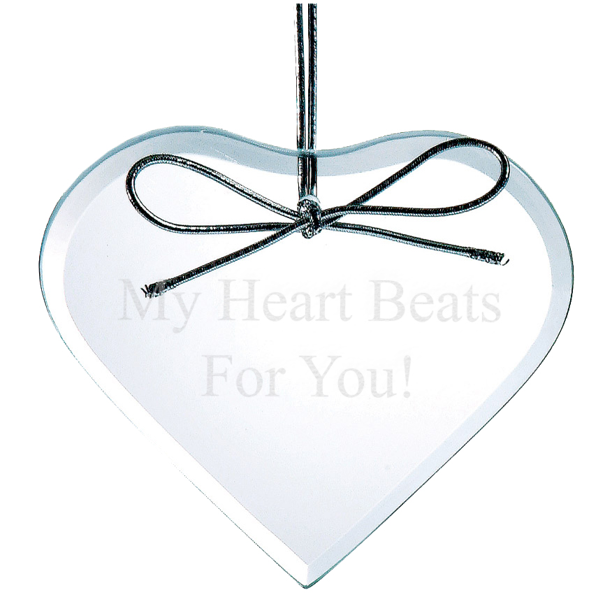 Custom Clear Glass Beveled Heart Ornament