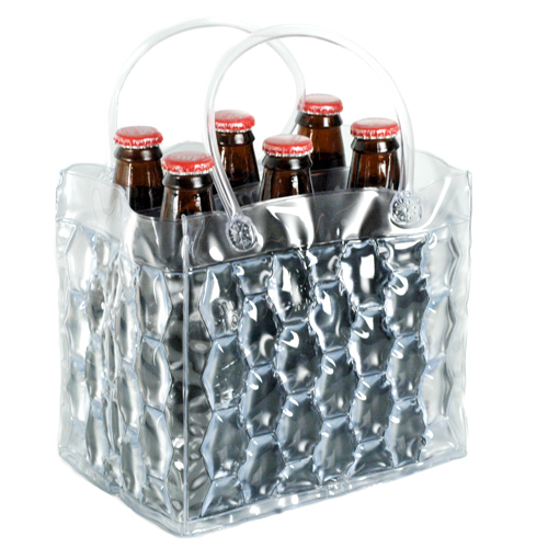 Clear Six Pack Bottle Ice Cooler Carrier
