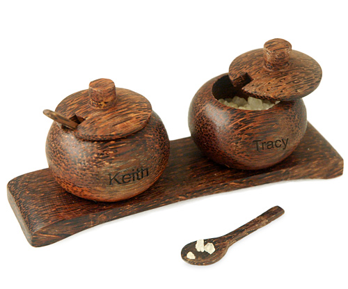 Hand Carved Mini Coconut Salt & Pepper Pot Server & Spoon