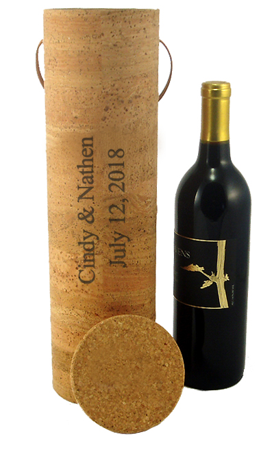 Natural Cork Leather Cylinder Wine Box Carrier