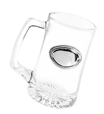 Engraved Medallion Glass Beer Mug