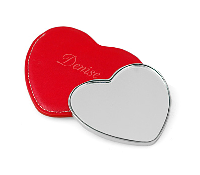 Heart Purse Mirror With Pouch