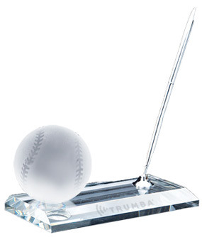 Crystal Baseball Office Pen Set Award