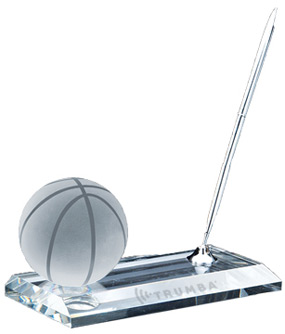 Crystal Basketball Office Pen Set Award