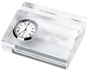 Crystal Business Card Holder With Clock Hansonellis Com