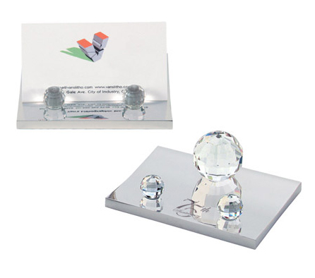 Mirror Finish Crystal Ball Business Card Case Holder