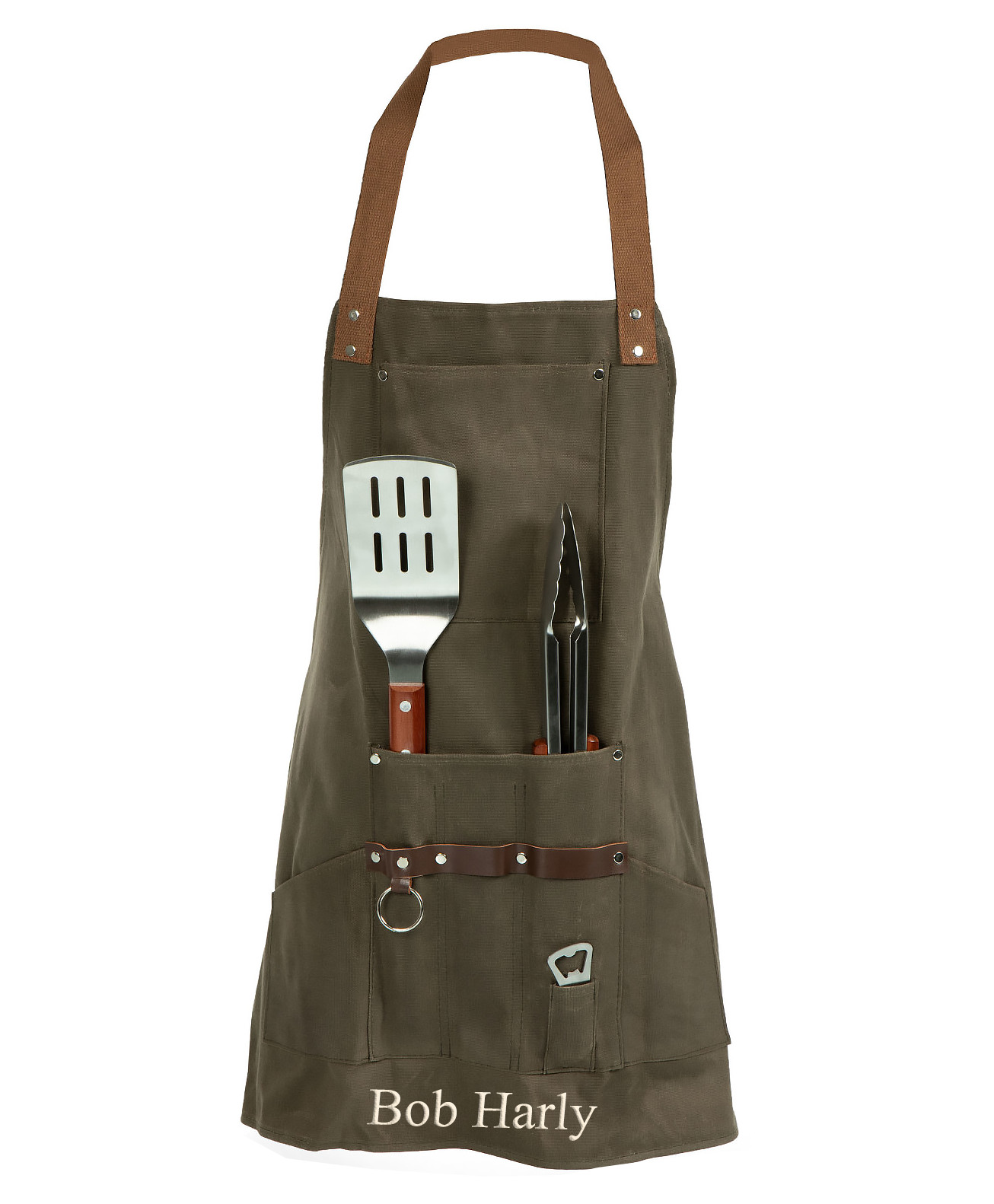 Smart BBQ Waxed Canvas Apron with Grilling Tool Set & Metal Retractable Bottle Opener