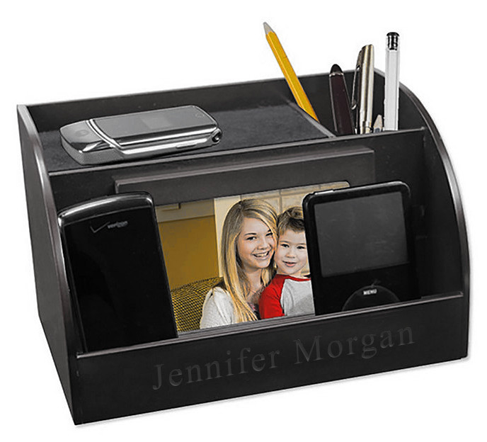 Black Wood Finish Smart Phone & Picture Frame Desk Organizer Charging Station