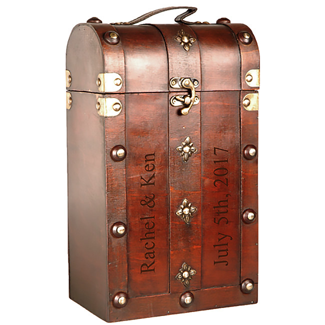 Custom Vintage Wood Chest Double Wine Box Carrier with Brass Clasp