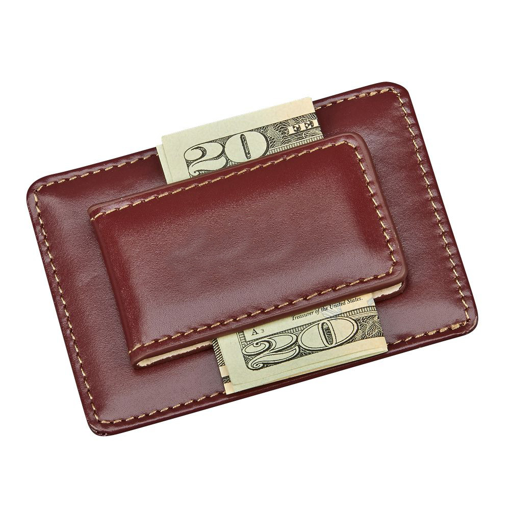 Executive Brown Magnetic Leather Credit Card & Money Clip