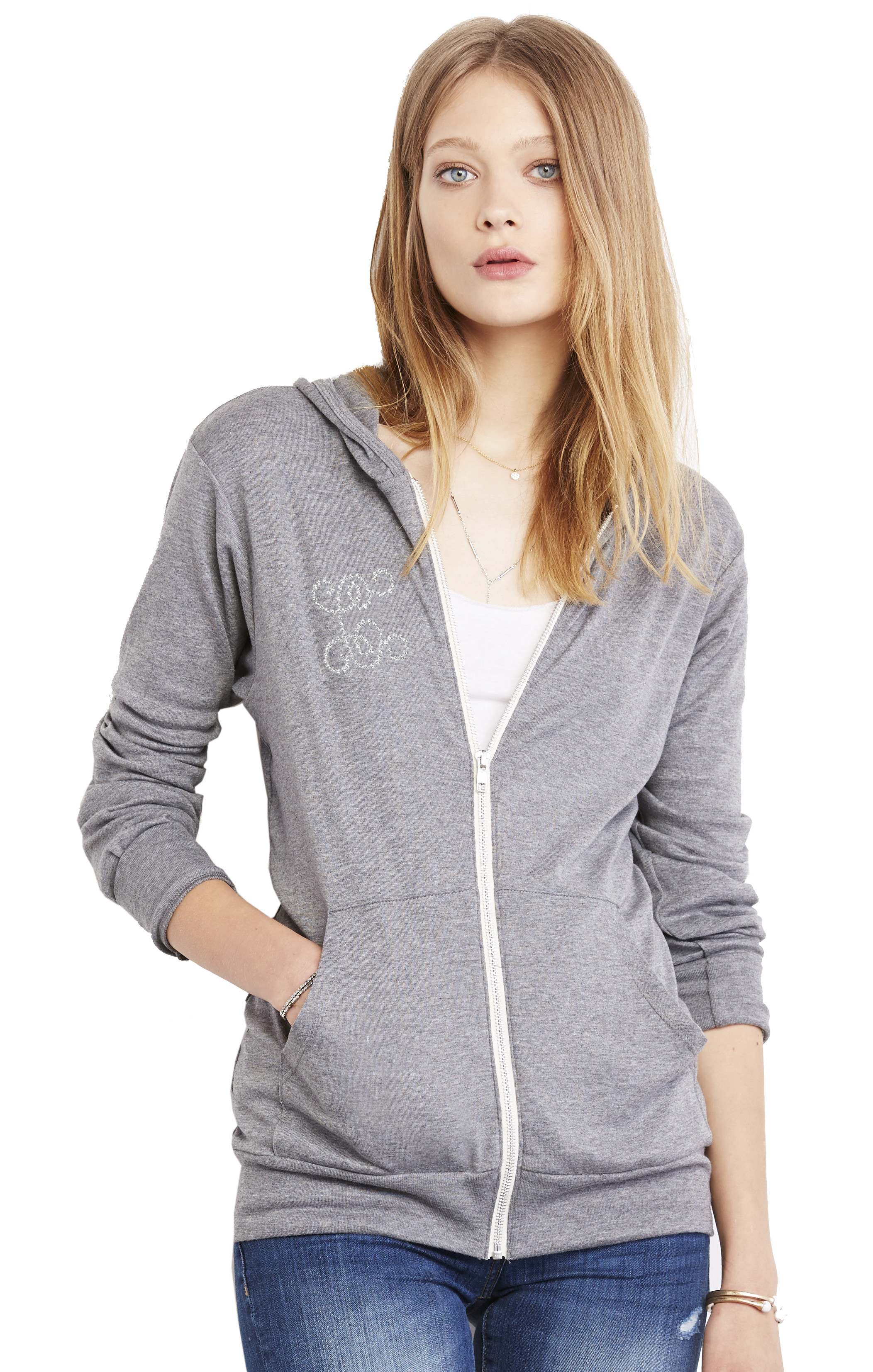 Unisex Grey Tri-Blend Full-Zip Lightweight Activewear Hoodie