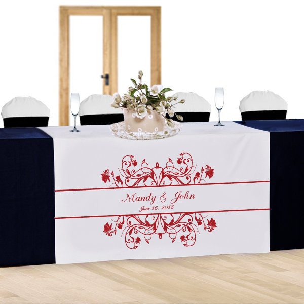 Floral Vine Personalized Wedding Table Runner