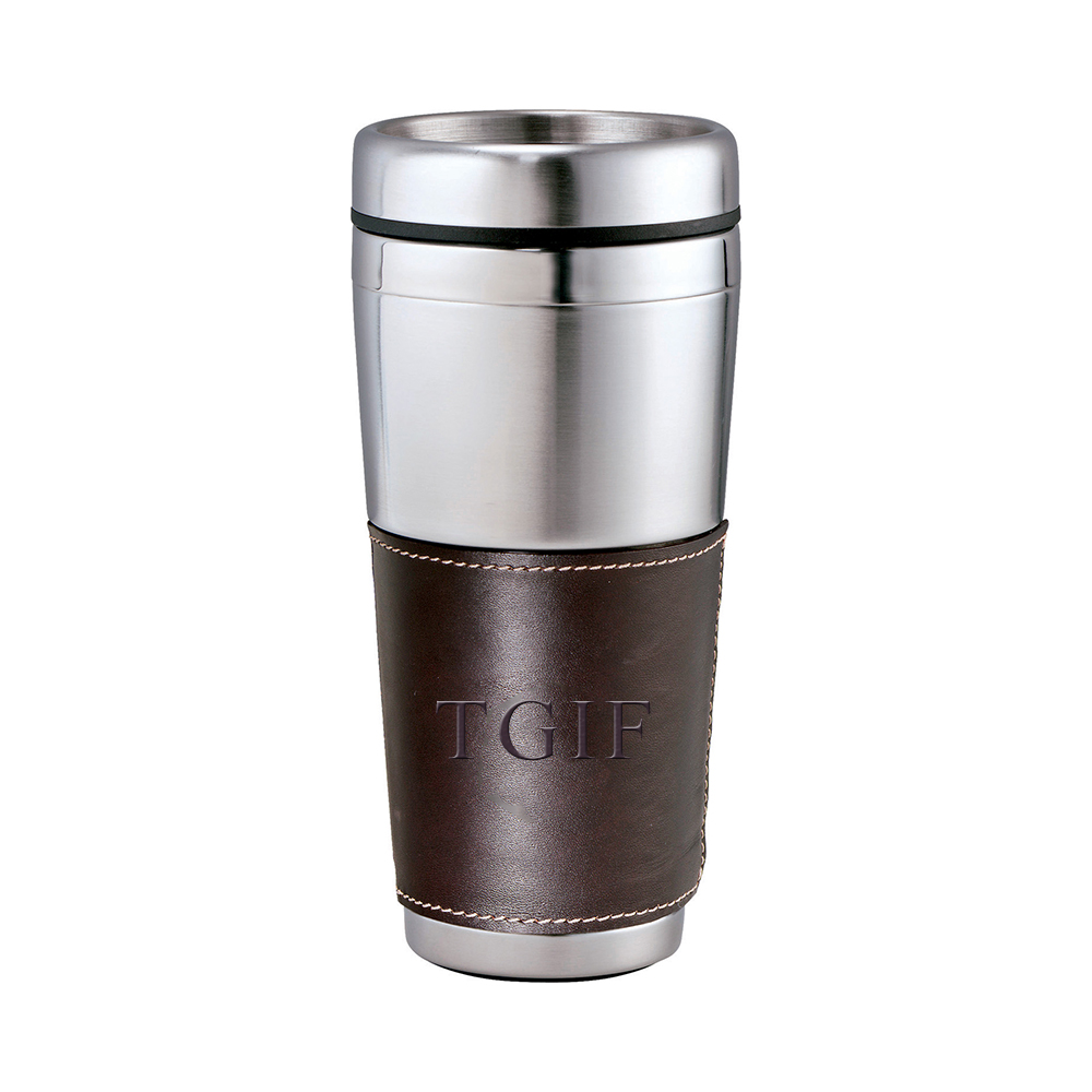 16 oz Personalized Cutter & Buck American Classic Leather Tumbler