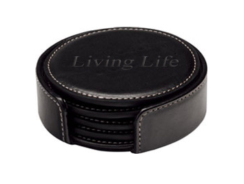 Round Black Leather Coasters Set