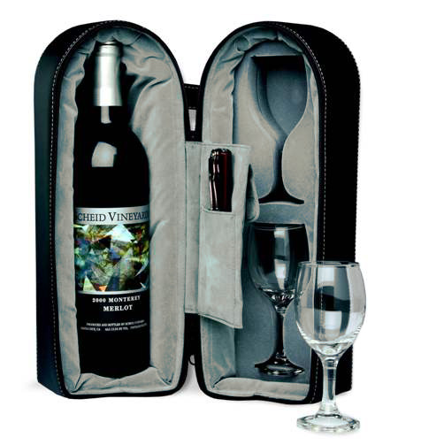 His & Hers Dual Wine Glass Cups & Bottle Travel Carry Case